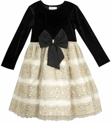 Rare Editions Little Girls Black And Lace Bow Holiday Dress