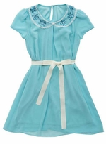 Rare Editions Little Girls Blue Chiffon Shift Dress w/Jeweled Collar