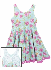 Rare Editions Little Girls Blue Floral Crochet Dress
