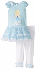 Rare Editions Little Girls Blue Princess Tutu Legging