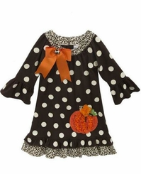 Rare Editions Little Girls Brown Dot Pumpkin Dress
