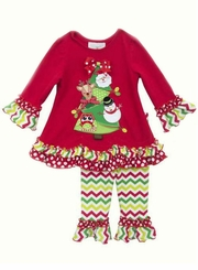 Rare Editions Little Girls Festive Christmas Tree Legging Set