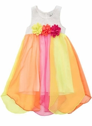 Rare Editions Little Girls Chiffon Colorblock White Lace Bodice Dress