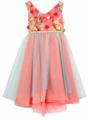 Rare Editions Little Girls Coral Flower Tulle Dress