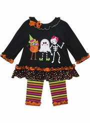 Rare Editions Girls Dancing Ghost Halloween Pant Set 2T - 6X
