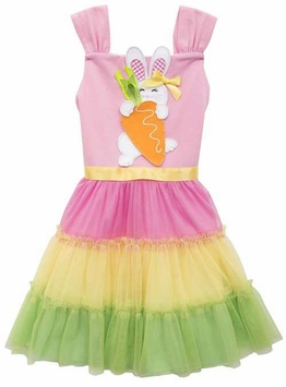 Rare Editions Little Girls Easter Bunny Color Block Dress