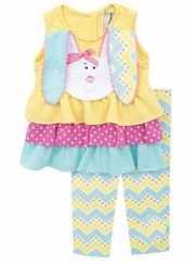 Rare Editions Little Girls Easter Tiered Bunny Floppy Ears Legging Set