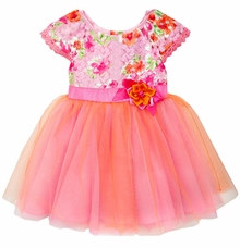 Rare Editions Little Girls Fuchsia Lace Tulle Party Dress