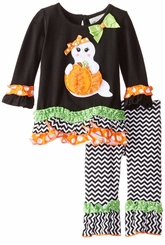 Rare Editions Little Girls Ghost Pumpkin Halloween Pant Set