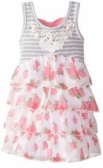 Rare Editions Little Girls Grey Striped Bodice Floral Chiffon Tiered Dress