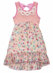 Rare Editions Little Girls Hi Lo Floral Stripe Bodice Dress  FINAL SALE