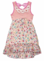 Rare Editions Little Girls Hi Lo Floral Stripe Bodice Dress