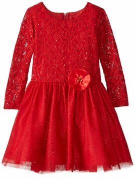 Rare Editions Little Girls' Lace To Glitter Tulle with Satin Flower Dress