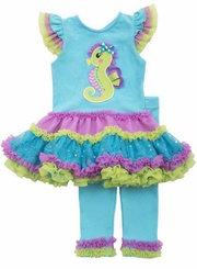 Rare Editions Little Girls Multi Color Seahorse Tutu Legging Set