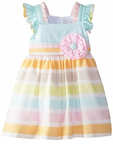 Rare Editions Little Girls Multi Stripe Linen Dress with Flower Applique