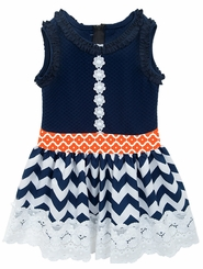 Rare Editions Little Girls Navy Chevron Lace Trim Dress