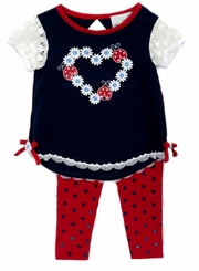 Rare Editions Little Girls Navy Daisy Heart Legging Set