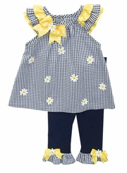 Rare Editions Little Girls Navy Gingham Daisy Legging Set