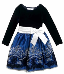 Rare Editions Little Girls Navy Stretch Velvet Glitter Dress