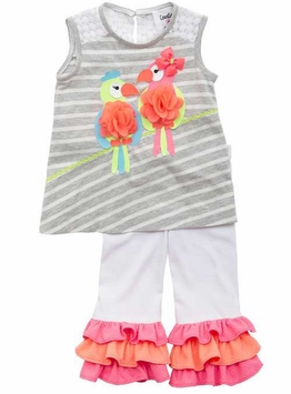 Rare Editions Little Girls Neon Parrot Top White Pant Set