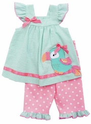 Rare Editions Little Girls Parrot Checker Seersucker Capri Set