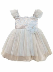 Rare Editions Little Girls Periwinkle Ivory Lace Girl's Dress  5-6X
