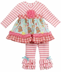 Rare Editions Little Girls Pink And White Striped Gingerbread Candy Cane Legging Set