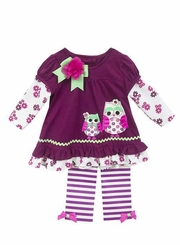 Rare Editions Little Girls Plum Owl Legging Set