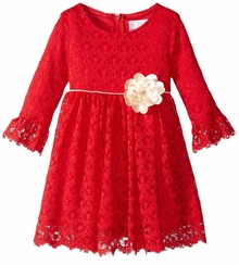 Rare Editions Little Girls Red Lace Dress Gold Bow