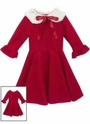 Rare Editions Little Girls Red Sparkle Knit Dress with Cape