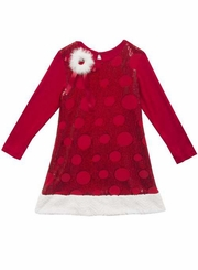Rare Editions Little Girls Red Velour Sequin Circle Dress with Fur Trim
