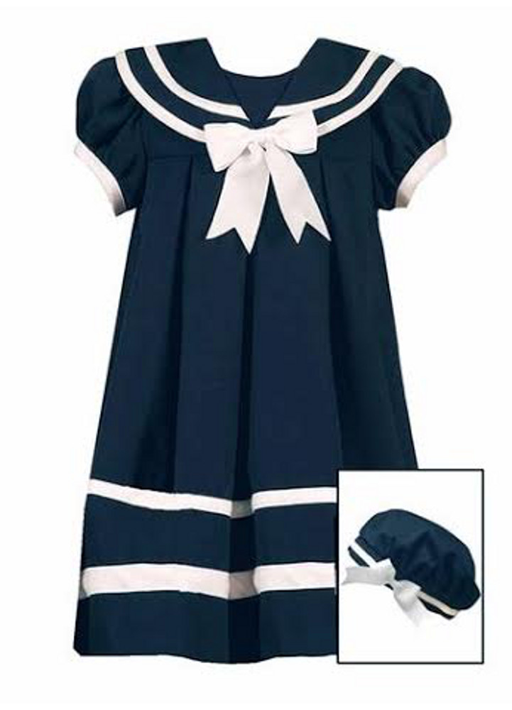 Rare Editions Little Girls Sailor Dress With Hat Navy