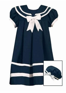 Rare Editions Little Girls Sailor Dress with Hat - Navy Sailor Dress