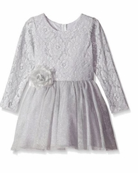 Rare Editions Little Girls Silver Lace Dress