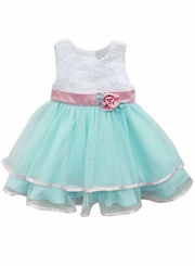 Rare Editions Little Girls Special Occasion Dress Aqua Pink Ribbon White Soutache Dress