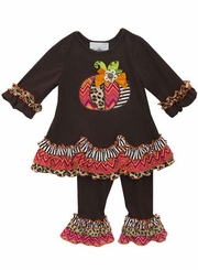 Rare Editions Little Girls Thanksgiving Festive Pumpkin Pant Set