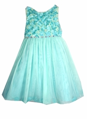 Rare Editions Little Girls Turquoise Embellished Flower Dress SIZE 6 LAST ONE