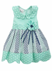 Rare Editions Little Girls Woven Mint Polka Woven Dot Trim Dress - sold out