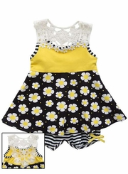 Rare Editions Little Girls Yellow Black Crochet Back Knit Dress
