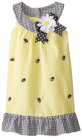 Rare Editions Little Girls Yellow Checked Bumble Bee Seersucker Dress