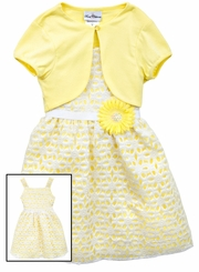 Rare Editions Little Girls Yellow Daisy Cardigan Dress