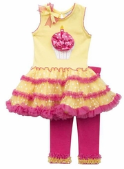 Rare Editions Little Girls Yellow Fuchsia Cupcake Legging Set