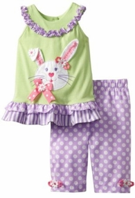 Rare Editions Mint/ Lilac Easter Bunny Capri Pant Set - SOLD OUT