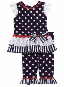 Rare Editions Navy Mixed Print Nautical Legging Set  SOLD OUT