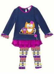 Rare Editions Navy Owl Tunic Legging Set