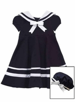 Rare Editions Navy Sailor Dress with Hat
