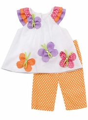Rare Editions - Orange/ White Polka Dot Set With Butterfly Applique - sold out