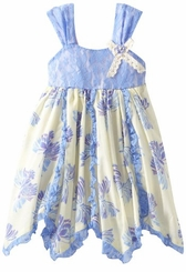 Rare Editions - Periwinkle/ Cream Butterfly Print Dress 4-6X Final sale!