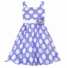 Rare Editions Periwinkle/ White Pleated Dot Dress FINAL SALE