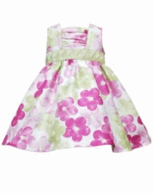Rare Editions Pink and Green Floral Summer Dress